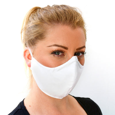 woman wearing a 3 layer reusable white face mask sasmask by screen and shield
