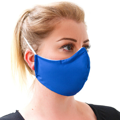 woman wearing a 3 layer reusable blue face mask sasmask by screen and shield