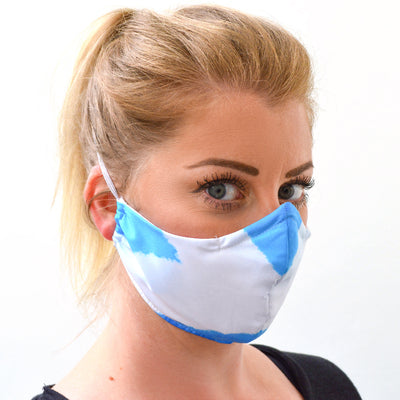 woman wearing a 3 layer reusable Scottish Flag face mask sasmask by screen and shield