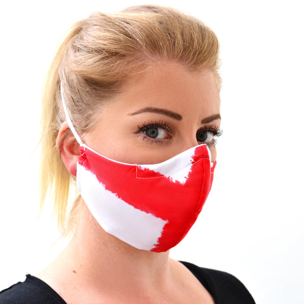 woman wearing a 3 layer reusable English flag face mask with saint george pattern sasmask by screen and shield