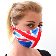 woman wearing a 3 layer reusable British flag face mask with Union Jack pattern sasmask by screen and shield