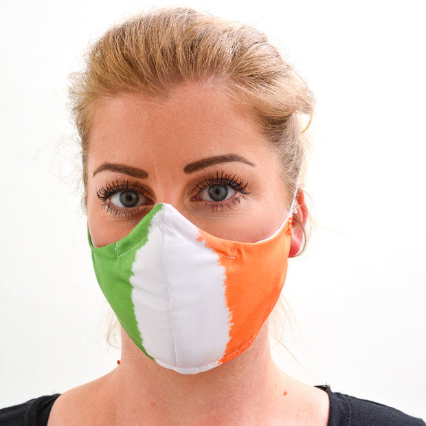 woman wearing a 3 layer reusable Irish flag face mask sasmask by screen and shield