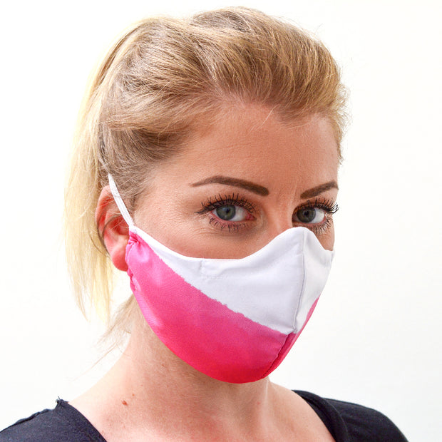 woman wearing a 3 layer reusable Polish flag face mask sasmask by screen and shield