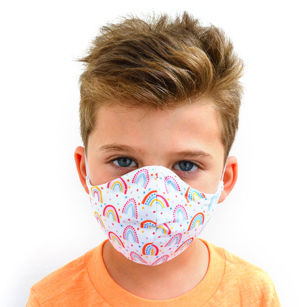 young boy wearing a 3 layer reusable child's face mask with rainbow pattern sasmask by screen and shield