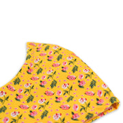 3 layer reusable face mask with yellow pink ditsy floral pattern sasmask by screen and shield