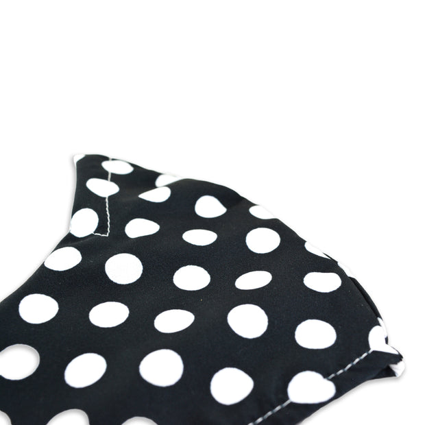 3 layer reusable face mask with black white polka dot pattern sasmask by screen and shield