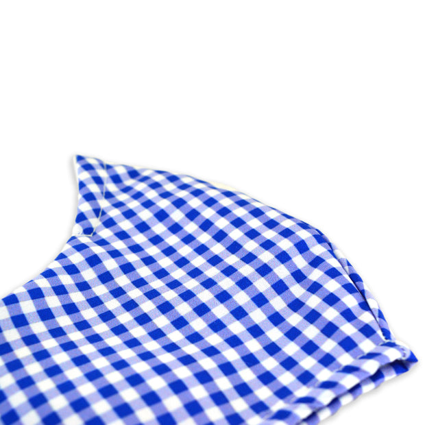 3 layer reusable face mask with blue gingham pattern sasmask by screen and shield
