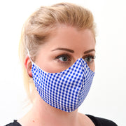 woman wearing a 3 layer reusable face mask with blue gingham pattern sasmask by screen and shield