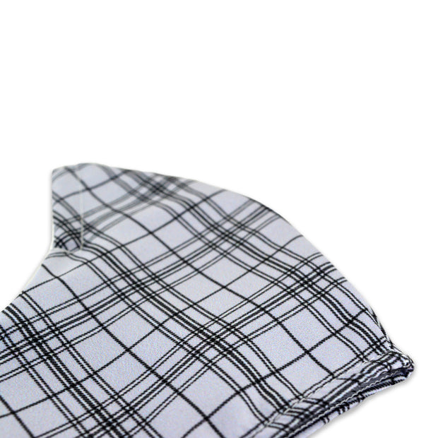 3 layer reusable face mask with grey tartan pattern sasmask by screen and shield