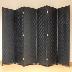 Best Black Wicker Style Room Divider - 6 Panel