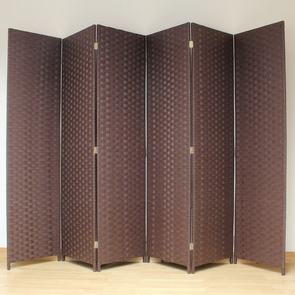 Wicker Style Brown Room Divider - 6 Panel