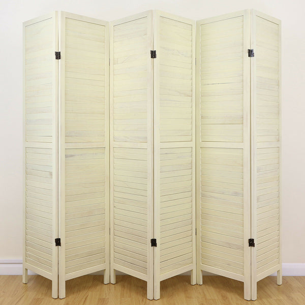 Cream Wooden Slat Room Divider  - 6 Panel