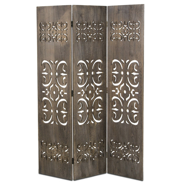 Hand Carved Room Divider Screen - Grey Wash