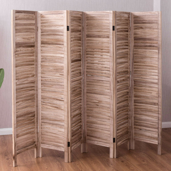 6 Panel - Light Brown Wooden Slat Room Divider