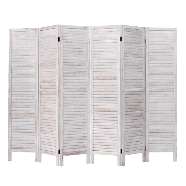 White Wooden Slat Room Divider - 6 Panel
