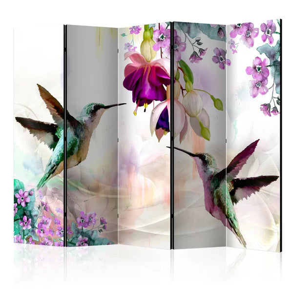 Hummingbird Room Divider - 5 Panel