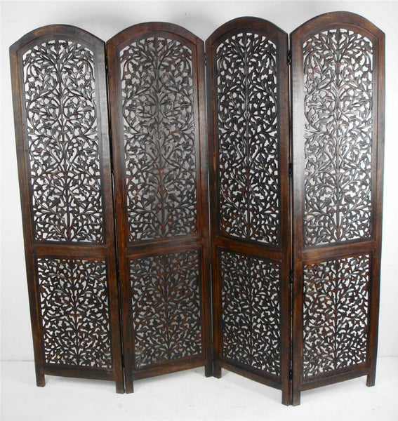 Kubu Hand Carved Room Divider - Dark Brown