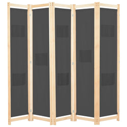 Alamo Room Divider Screen - 5 Panel - Grey