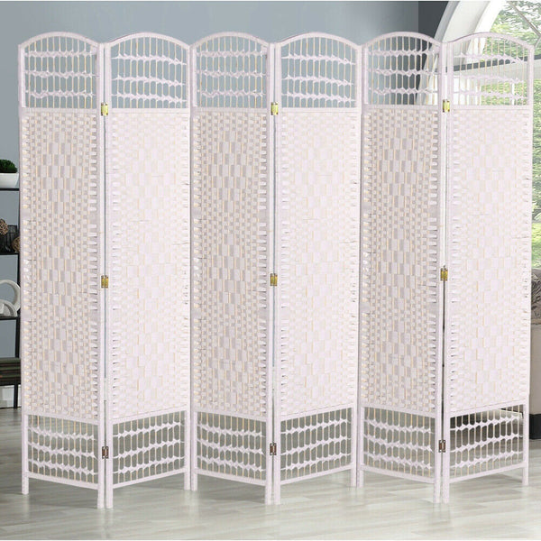 White 6 Panel Wicker Room Divider