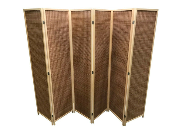 Dark Natural Bamboo Room Divider - 6 Panels