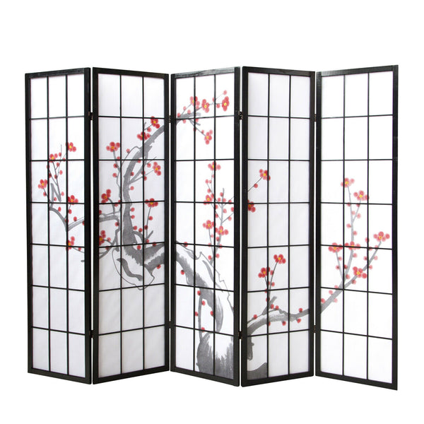 Cherry Blossom Shoji Screen -Black - 5 Panel
