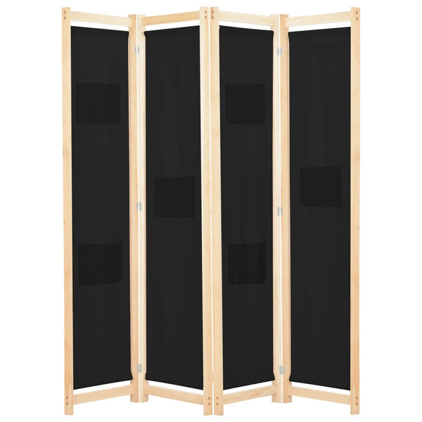 Alamo Room Divider Screen - 4 Panel - Black