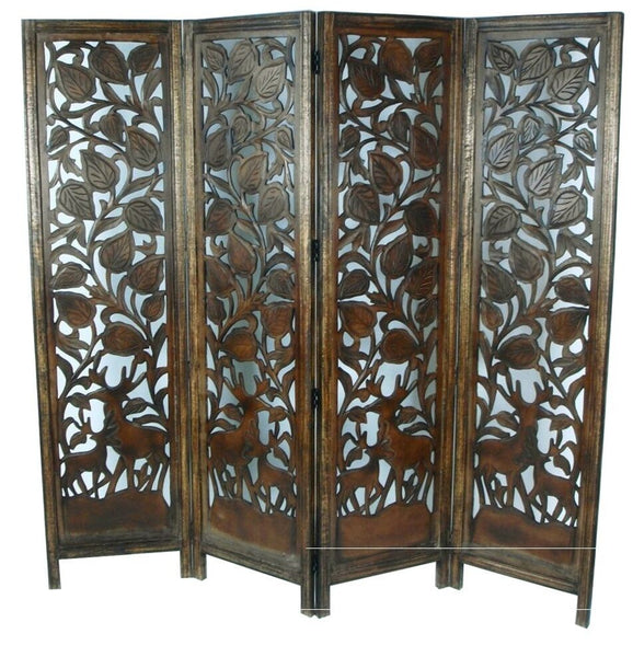 Imari Hand Carved Elephant Design Room Divider - Light Brown
