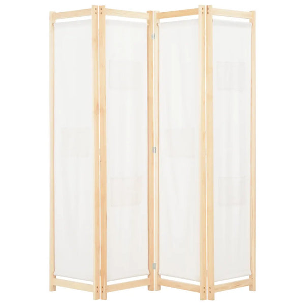 Alamo Room Divider Screen - 4 Panel - Cream