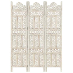 Elisa Solid Mango Wood Hand Carved 3 Panel Room Divider - White