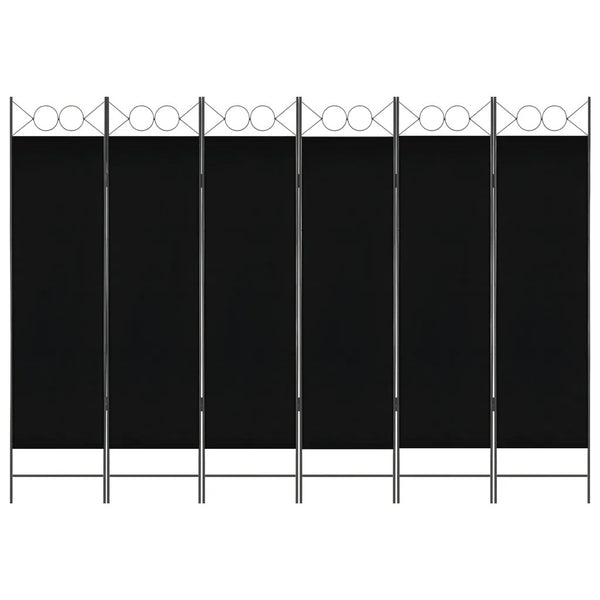 Amber 6 Panel Room Divider Screen - Black