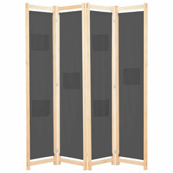 Alamo Room Divider Screen - 4 Panel - Grey
