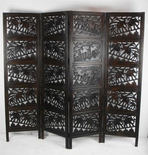 Tenali Hand Carved Elephant Design Room Divider - Dark Brown
