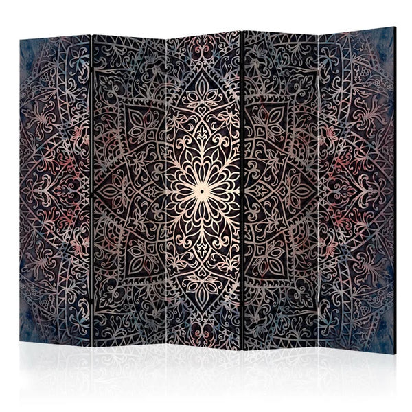 Mandala Room Divider - Purple/Black - 5 Panel