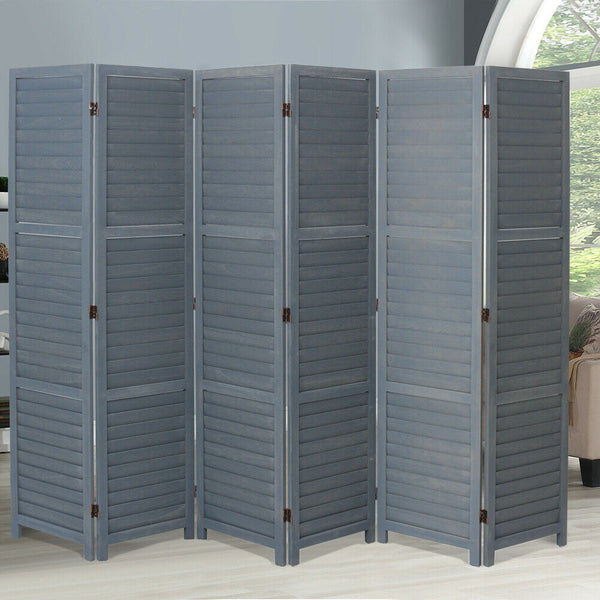Grey Wooden Slat Room Divider - 6 Panel