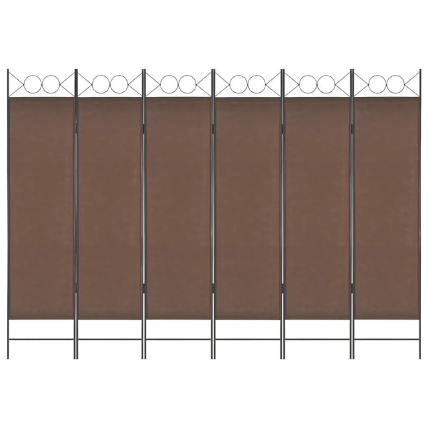Amber 6 Panel Room Divider Screen - Brown