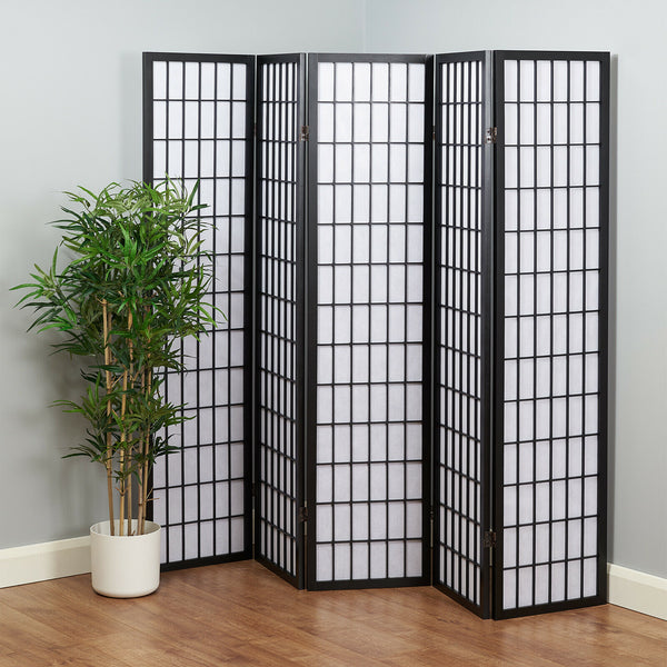 Akiko Black Window Shoji Room Divider Screen - 5 Panel