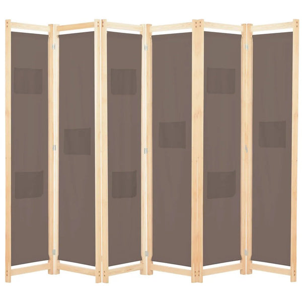 Alamo Room Divider Screen - 6 Panel - Brown