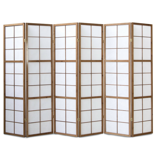 Tobacco Window Shoji Room Divider Screen - 6 Panel