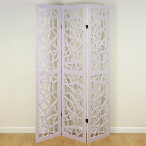 Carlia 3 Panel Decorative Room Divider - White