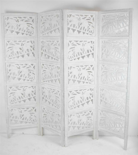 Tenali Hand Carved Elephant Design Room Divider - White