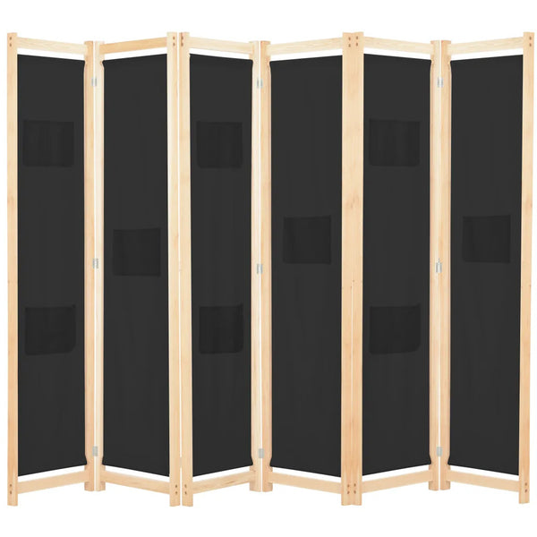 Alamo Room Divider Screen - 6 Panel - Black