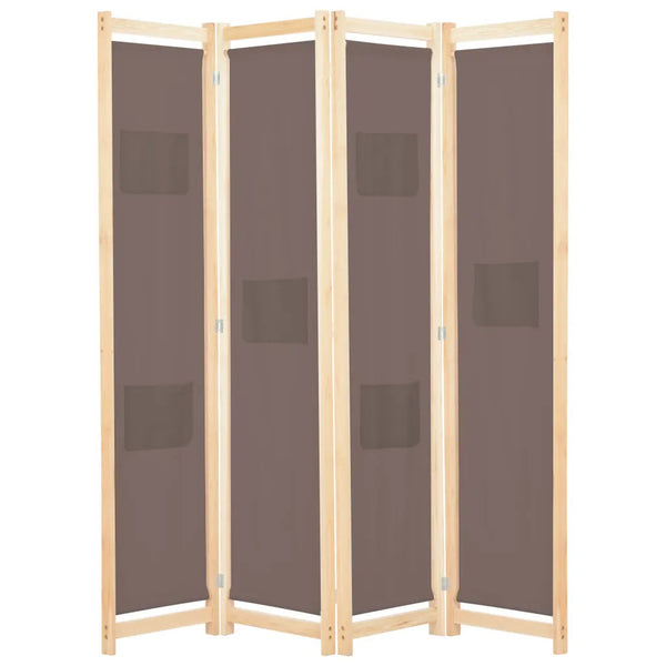 Alamo Room Divider Screen - 4 Panel - Brown