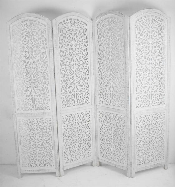 Kubu Hand Carved Room Divider - White