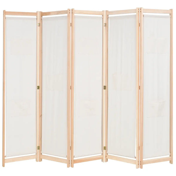 Alamo Room Divider Screen - 5 Panel - Cream