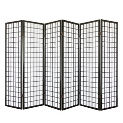 Black Shoji Screen - 6 Panel Room Divider
