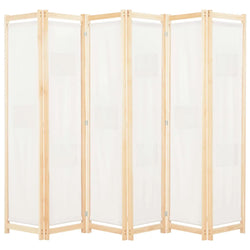 Alamo Room Divider Screen - 6 Panel - White