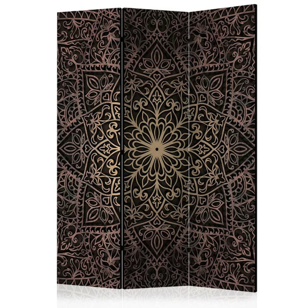 Mandala Room Divider - Gold/Black - 3 Panel