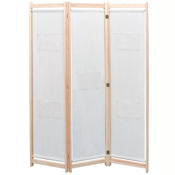 Alamo Room Divider Screen - 3 Panel - Cream