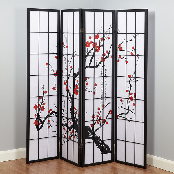 Cherry Blossom Shoji Screen - Black - 4 Panel