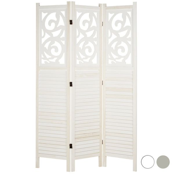 Sienna 3 Panel Wooden Room Divider - White